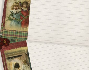 4x6 Holiday Printable Vintage Christmas Note Card Gift Tag  Set journal cards Instant Download Digital DIY Project Kit