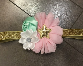 Twinkle little star Pink mint gold , first birthday headband