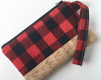 Buffalo Plaid Purse - Cork Clutch - Clutch Purse - Wristlet Clutch - Wristlet Clutch Purse - Gift under 50 -  Gift for Her