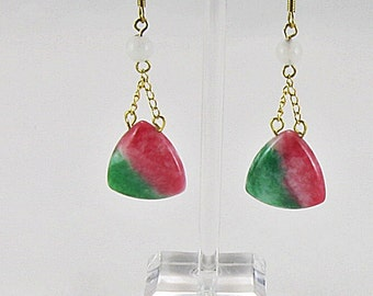 Earrings - Watermelon Jade Teardrops With Snow Quartz & Gold Filled Findings (E168)
