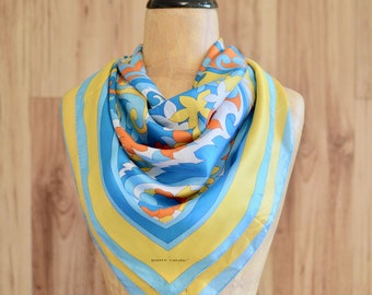 1960s 1970s Pierre Cardin Square Scarf, Sixties Seventies Orange Yellow Blue White Psychedelic Floral Scarf, Vintage Designer Accessories