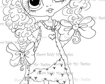 INSTANT DOWNLOAD Digi Stamps Big Eye Big Head Dolls Digi Bestie IMG181 By Sherri Baldy