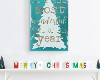 Home Decor Christmas, It's The Most Wonderful Time of the Year, Christmas Decor, Shabby Chic Christmas Sign, Christmas Gift, Holiday Decor