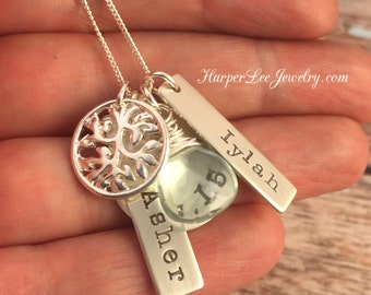 Sterling Silver ~ Mommy of Twins ~ Personalized Name Necklace ~ Mom ~ Custom Birthstone ~ Birthdate ~ Hand Stamped Cluster Jewelry ~ Tree