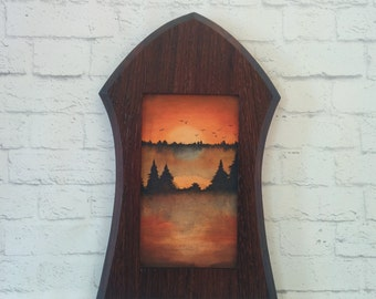 "Original Miniature Painting, ""The Morning After"", Acrylic on Canvas, Custom Exotic Hardwood Frame"