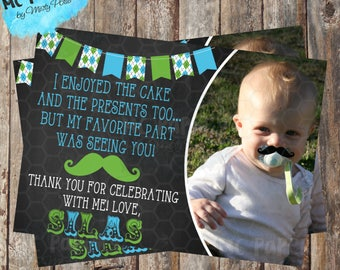 Printable Little Man Birthday Thank You Card - YOU PRINT