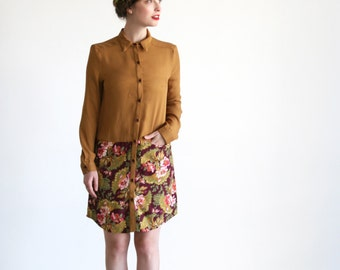 Clearance SALE/ Mustard and Floral print Button down Dress \ winter dress\ Party dress/ size 12