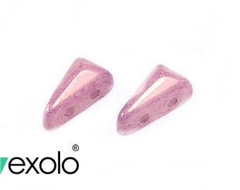 30pcs Vexolo Two Holes Pressed Beads 5x8mm, Czech Glass, Alabaster Lila Luster (VX013)