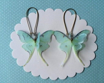 I Will Fly Away - Handmade Luna Moth (Actias Luna) Butterfly Moth Earrings in Silk Organza