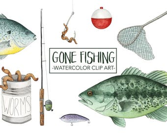 Fish Watercolor Clip Art - Fish Watercolor Clipart - Fishing Clip Art - Hand Painted Clip Art - Hand Painted Clipart - Clip Art Set