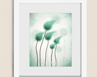 Teal Abstract Round Tree Wall Art Print 11 x 14, Blue Green Nature Home Decor, Wind Blowing (11)