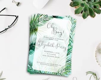 Jungle Baby Shower Invitation, Jungle Theme Baby Shower Invitation, Safari Baby Shower Invite Printable, Oh Boy! invitation Digital Download