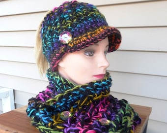 Rainbow Mix and Black Messy Bun Ponytail Newsboy Hat with Matching Cowl Set Ready to Ship