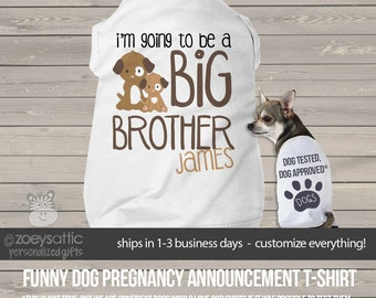 Big brother dog shirt - I'm going to be a big brother personalized dog tshirt perfect for first baby pregnancy announcement MPUP-015-ds