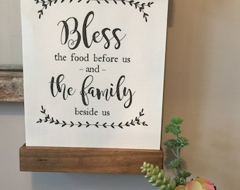 Bless the Food Before Us Sign | Blessings Prayer Sign | Wooden Scroll Sign | Canvas Framed Sign | Rustic Farmhouse Sign | Poster Hanger Sign