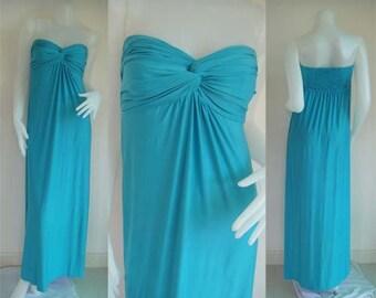 Blue strapless long maxi dress sun beach dress all size