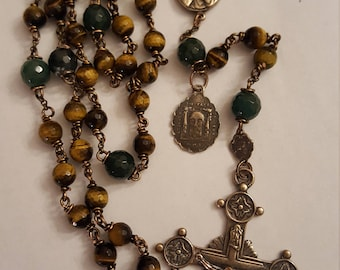 Beautiful Tiger eye and bronze wire wrapped rosary