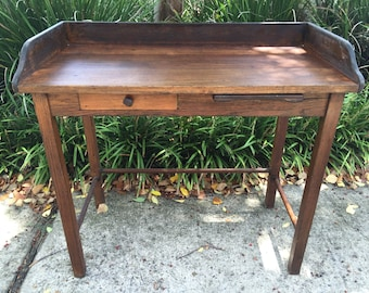 Oak Writing Desk Antique Industrial Primitive Wood Library Brass Numbered