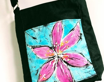 Waxed Cotton Crossbody Bag with Hand Dyed Batik Turquoise and Fuschia Accent Pocket