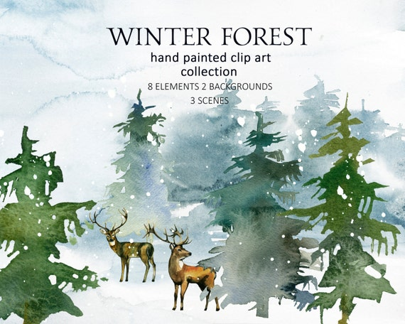 Pine Trees Deer Watercolor Clipart Fir Trees Png Christmas
