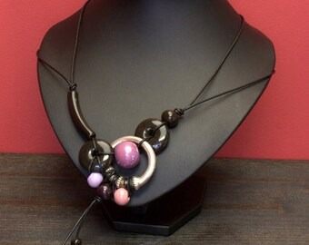 Women's Necklace with Ceramic Beads, silver plated, leather cord DK 060