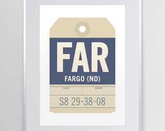 Fargo, North Dakota ND. FAR. Hector Airport. Luggage Tag Poster. Baggage Tag Print. Flight Tag. Airport Code. Aviation Decor.