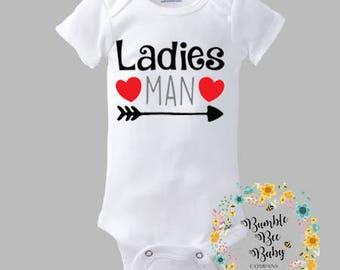 Ladies Man, Super Cute, Preemie thru 3T Onesie, Boy Bodysuit