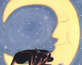 Doberman pinscher (dobi) sleeping on moon / Lynch Signed Folk Art Print