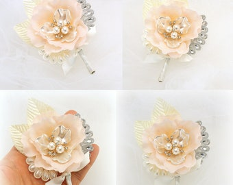 Blush Groomsmen Boutonnieres Corsages Mother of the Bride Elegant Buttonholes