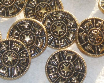 ZODIAC Set 12 Vintage New METAL Astrology Picture buttons 3/4""