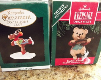 Set of 2 Two Hallmark Keepsake Ornaments Ornament - 1995 - Fiddlin' Around and A Gift from Rodney