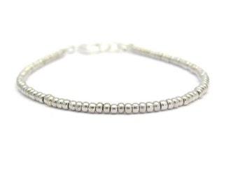 Silver Glass Seed Bead Bracelet, Beaded Bracelet, Silver Bracelet, Friendship Bracelet, Minimal Bracelet, Seed Bead Bracelet, Bridesmaid