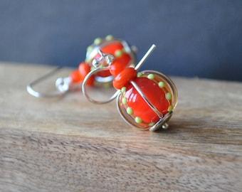 Bright Orange Lampwork Earrings, Glass Earrings, Lime Green Polka Dot Earrings