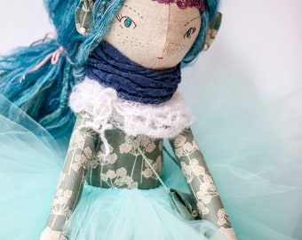 Anairë, Blue hair Elf doll, handmade, Heirloom Doll, Ballerina Doll, Cloth Doll, OOAK Doll