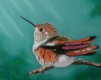 "Hummingbird Art #2 Oil Painting on Stretched 8"" X 8"" Canvas Bird Lover Nature Art Bird Oil Painting Whimsical Bird Art"