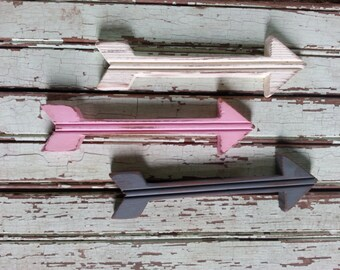 Set of Three Rustic Distressed Mini Arrows, Wood Arrow, Girls Woodland Theme, Pink Grey White