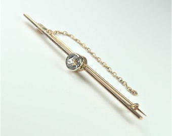 Vintage Art Deco Style 9ct Rose Gold White Sapphire Bar Pin