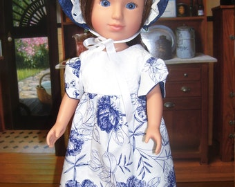 """14"""" Doll Regency Gown and Bonnet...free shipping"""