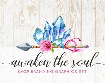 Rustic Boho Crystal Etsy Shop Banners, Avatar Icons, Business Card, Logo Label + More - 13 Premade Branding Graphics Files - AWAKEN THE SOUL