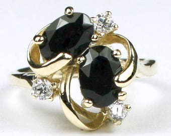 Black Onyx, 18KY Gold Ring, R016