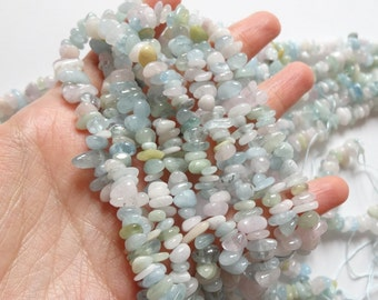 "Price REDUCED Pastel Candy colored Beryl Multicolor Gemstone Chips 16"" strand N3011"