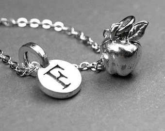 Apple necklace, apple charm necklace, apple charm, fruit necklace, fruit charm, personalized, silver pewter, initial necklace, initial charm