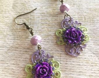 Vintage Style Earrings, Rose Earrings, Dangle and Drop Earrings