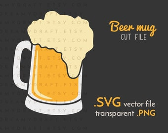 Beer mug SVG cut file | beer svg - beer glass svg - drink svg - beer clip art | SVG PNG | Cricut or silhouette cutting machine