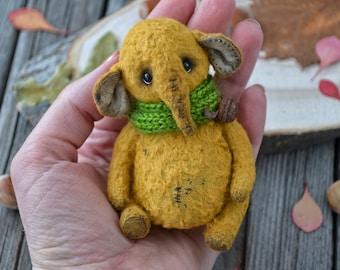 "OOAK Friend teddy bear elephant ""Kokie"", artist elephant, stuffed elephant, teddy elephant, handmade elephant, vintage plush toy, soft toy"