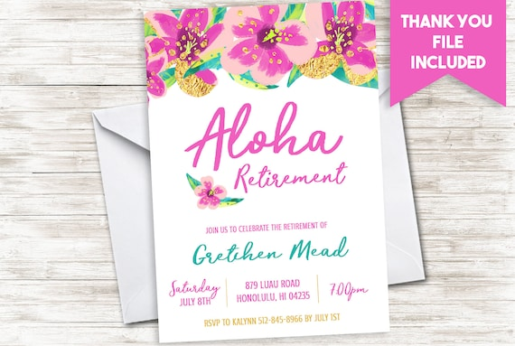 aloha retirement invitation party invite purple gold glitter