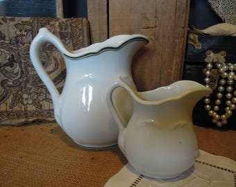 Vintage Ironstone Pitchers / Ironstone Creamer / Sterling China Co. Vitrified China /  Restaurant Ware Ironstone