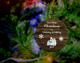 First Christmas As Mommy And Daddy Ornament New Baby Ornament New Parents Ornament 2017 Ornament Family Ornament Personalized Christmas Gift