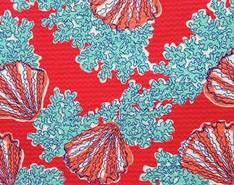 "watermelon coralina jacquard cotton fabric square 18""x18"" ~ lilly resort 2013 ~ lilly pulitzer"