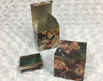 One Vintage 1996 Renoir Luncheon of the Boating Party Art Cube Collection w Small Poster - Distributed by Made in Museum